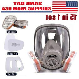 15in1 Gas Mask / Filter Full Face Facepiece Respirator For 6
