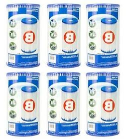Intex 29005E Swimming Pool Filter Cartridge Type B 6 Pack