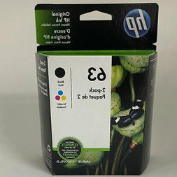 HP 63 Black Color Ink Cartridges Combo 2 Pack New Genuine F6