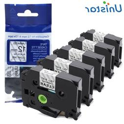 10pcs Black on White Label Tape Compatible for Brother TZ TZ