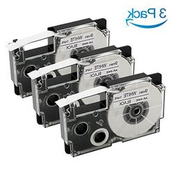 3 Pack Compatible Casio XR-9WE2S XR-9WE Label Tape Cassettes