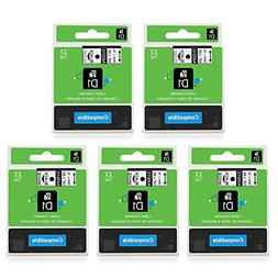 5-Pack Replace D1 Label Tape D1 45013 45010 Black on White /