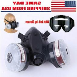 Half Face Gas Mask Dual Filter Cartridge Safety Gas Chemical