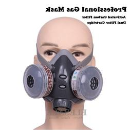 Half Face Gas Mask Dual Filter Cartridge Work Safety Gas Che