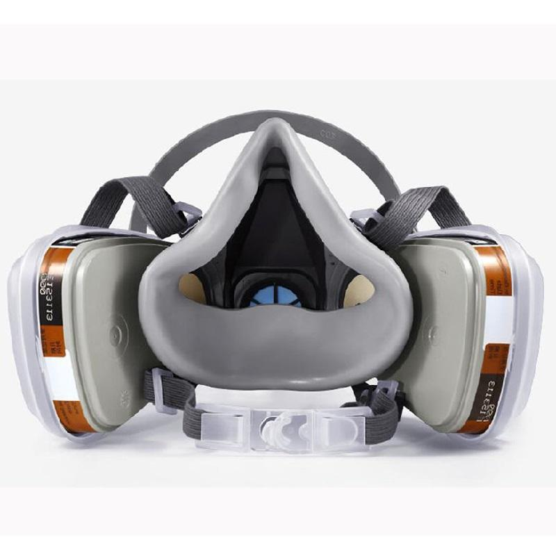 8 In 6200 Half Gas Mask Dual Carbon Respirator Work Spray Chemical Goggles