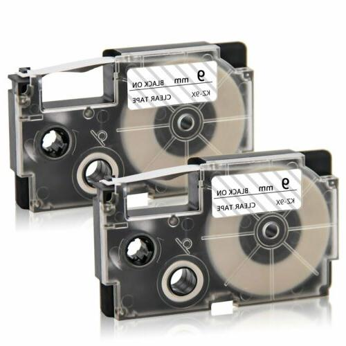 2pk Compatible Casio XR-9WE Black on White 9mm 8m Label Tape
