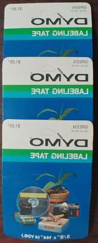 """Vintage DYMO Labeling Tape 3/8"""" x 144"""" Green, Lot Of 3 Cartr"""