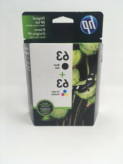 NEW Genuine HP 63 Black and Tri Color Combo Pack L0R46AN Sea