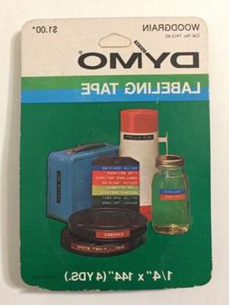 Vintage 80s New Dymo Labeling Tape Cartridge 1/4 inch Woodgr